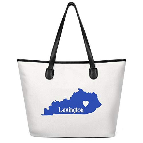 12.5X14 Inches Cute Zip Spacious And Roomy Canvas Large Tote Bag For Women Lexington KY Heart Foldaway Travel Beach Work Gym Book Lunch School Shopping Shoulder Handbag ()