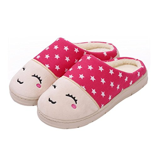 Eagsouni® Women's Slippers Plush Cotton Warm Indoor House Home Anti-Slip Shoes Pink UYpxiYf5