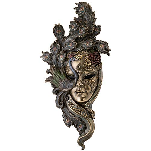 Top Collection Large Lady Peacock Venetian Style Carnival Mask- Decorative Hanging Wall Decor in Premium Cold Cast Bronze- 21-Inch Collectible Masquerade Party Mask Costume