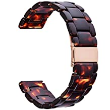20MM Gear Sport Band - V-Moro Fashion Resin R600 Samsung Gear Sport Bands Bracelet Strap with Metal Stainless Steel Rose Gold Buckle for Samsung Galaxy Gear Sport Smartwatch SM-R600(Tortoise-tone)
