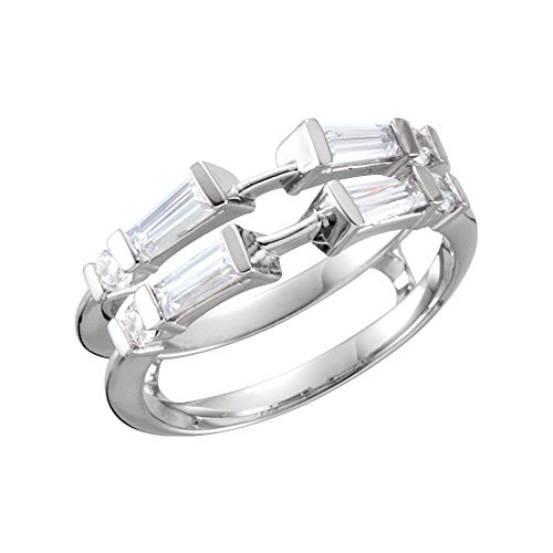 14k White Gold Tapered Baguette 4.5x2x1.5mm Polished 0.5 Dwt Diamond Ring Guard - Size 6.5 ()