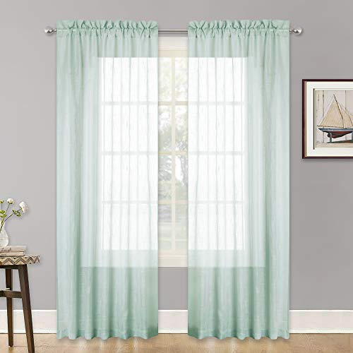 RYB HOME Sheer Curtains 84 inches Long, Linen Textured Window Panels Rod Pocket, Semitransparent Voile Drapes for Living Room/Bedroom/Bathroom, Aqua, W 52