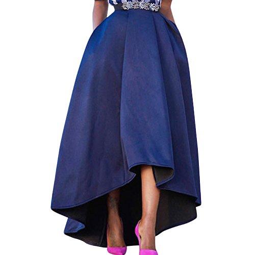 Semen Femme Robe Skit Longue Haute Vintage Fille Jupe Longue Plisse Haut Bas Chic Rtro Robe de Soire Bleu