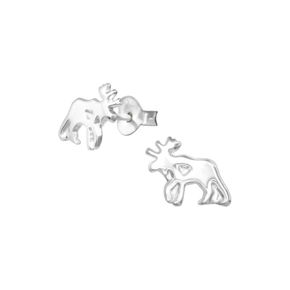 Girls Moose delicate Ear Studs 925 Sterling Silver