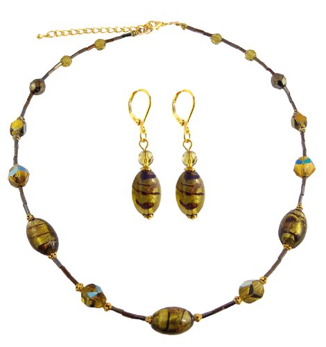 Sage Green Glass Bead Necklace & Earring Set