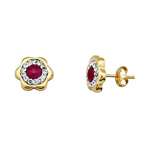 Boucled'oreille or 18k pierre zircone cubique fleur rouge cento [AA5373]