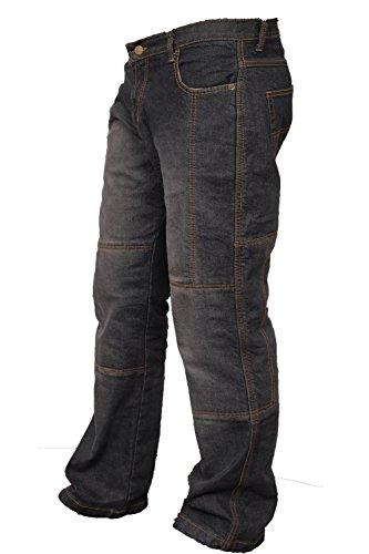 Jeans Trousers Pants (Newfacelook Mens Motorcycle Protective Lined 14OZ Jeans Pants Trousers I105 Black W34-L32)