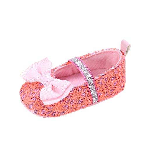 Zapatos de bebé Auxma El niño antideslizante del deslizador de los zapatos antideslizantes del Bowknot de la niña por 3-12 meses Rojo