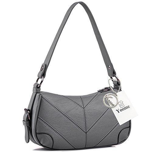 Yoome gran capacidad de las mujeres de múltiples capas funda de hombro bolsa Crossbody bolso de embrague con cremallera - negro Gris