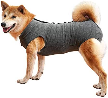 Dog Recovery Suit Abdominal Wound Protector Puppy Medical Surgical Clothes Post-Operative Vest Pet After Surgery Wear Substitute E-Collar & Cone (M, Grey)