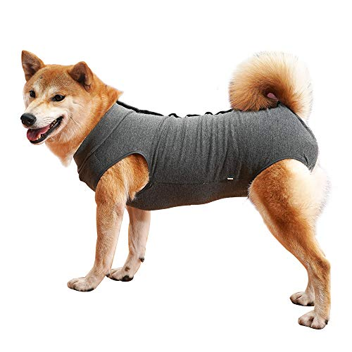 Dog Recovery Suit Abdominal Wound Protector Puppy Medical Surgical Clothes Post-Operative Vest Pet After Surgery Wear Substitute E-Collar & Cone (XXXL, Grey)