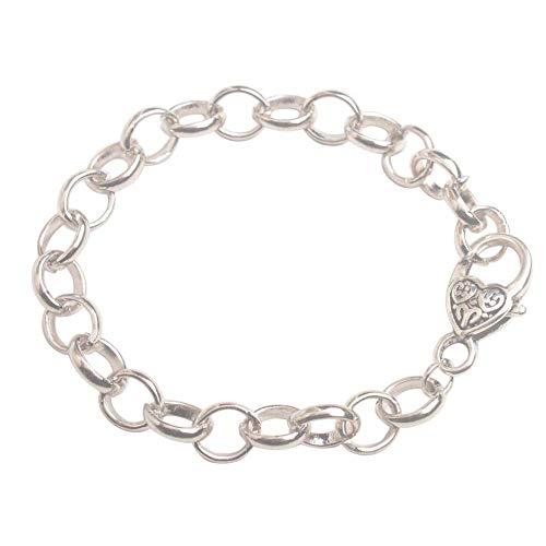 Heart Bracelet Jewelry - ChangJin 10PCS Silver Tone Metal Chain Heart Clasp Bracelets 22cm for Jewelry Making