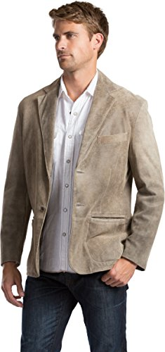 - Overland Sheepskin Co Canyon 2-Button Distressed Lambskin Leather Blazer