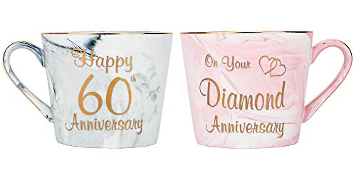 Happy Homewares Beautifully Designed 60th Anniversary Grey and Pink Marble 12oz Ceramic Mugs with Golden Metal Trim Perfect Wedding -