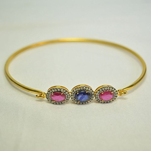 Ruby & Sapphire Gemstone Bangle, Gold Plated Ruby Sapphire Bangle, Pave Diamond Gemstone Bangle by Jaipur Handmade Jewelry