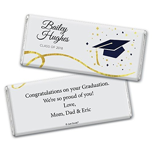 Personalized Graduation Class of 2018 Chocolate Bar Wrappers (25 Wrappers) - Navy (Bars Candy Personalized Graduation)