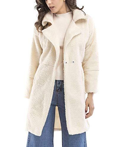 Manica Outerwear Alta Sciolto Coat Giacca Bianca Autunno Invernali Colori Bavero Lunga Giaccone Vita Giubotto Donna Solidi Costume Moda Casual Eleganti wUxtn