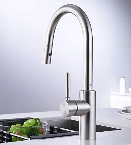 Kitchen Kitchen Sink Faucet with Pull Down Sprayer, Stainless Steel Single Handle RV Sink Faucet, Pull Out Sprayer Faucet for… modern sink faucets