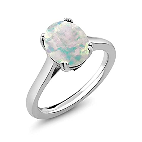 2.03 Ct Oval Cabochon White Simulated Opal White Created Sapphire 925 Sterling Silver Solitaire - Oval Created Sapphire Solitaire Ring