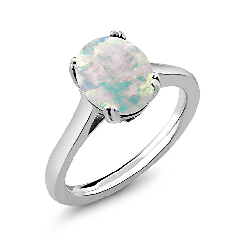 2.03 Ct Oval Diamond (2.03 Ct Oval Cabochon White Simulated Opal White Diamond 925 Sterling Silver Solitaire)