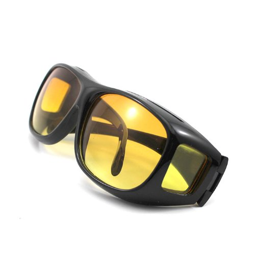 Unisex HD Night Driving Glasses Vision Care Eyes Protect Wrap Around Sunglasses Yellow