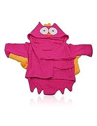 LHKJ 100% Cotton Baby Bathrobe Toddler Plush Hooded Bathrobe,Owl Bathrobe for Kids,Baby Bathrobe Towel-Hot Pink