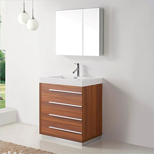 Virtu USA JS-50530-PL-PRTSET1 Bailey 30'' Single Bathroom Vanity with White Polymarble Top and Square Sink, Plum by Virtu USA