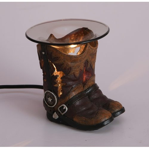 Our Brand Cowboy Boots Polyresin Oil Warmer with Dimmer