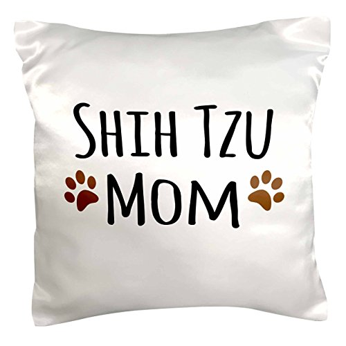 (3dRose pc_154196_1 Shih Tzu Dog Mom Doggie x Breed Muddy Brown Paw Prints Doggy Lover Proud Pet Owner Mama Pillow Case, 16