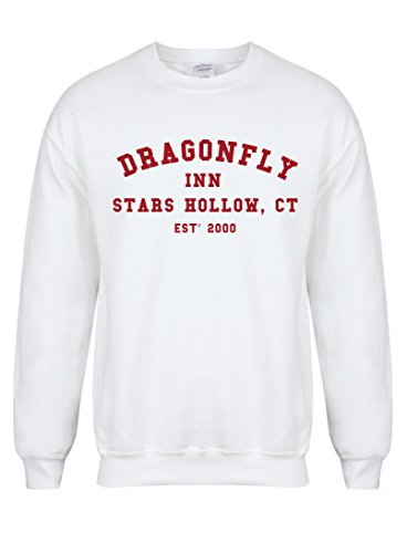 Dragonfly Inn Stars Hollow, CT, Est' 2000 - Unisex Fit Sweater - Fun Slogan Jumper (Medium - Chest 38-40 inches, White/Red)