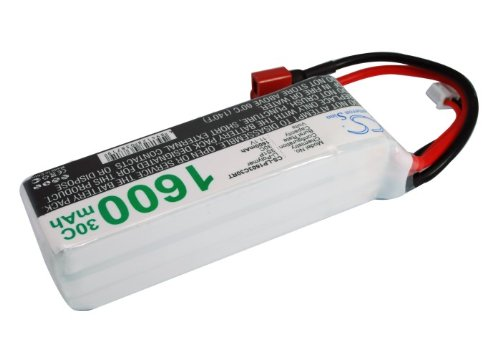 Battery2go 1600mAh Li-PO 3 cells 11.1V 30C JST-XH-2.54 AWG24 Battery for Airplane, Helicopter, Racing Car, Scale Boat