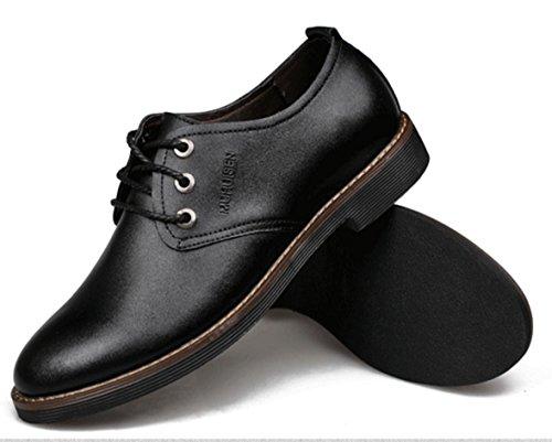 WZG zapatos ocasionales de negocio de los nuevos hombres, zapatos de cuero, zapatos de los hombres del cordón de los zapatos planos redondos de 9,5 Black