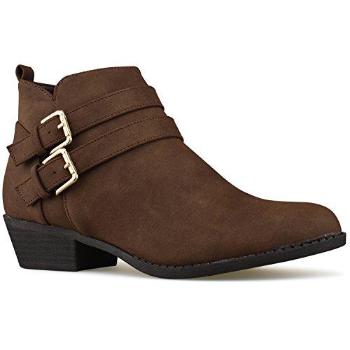 Premier Standard Women's Strappy Buckle Closed Toe Bootie - Low Heel Casual Comfortable Walking Boot Brown