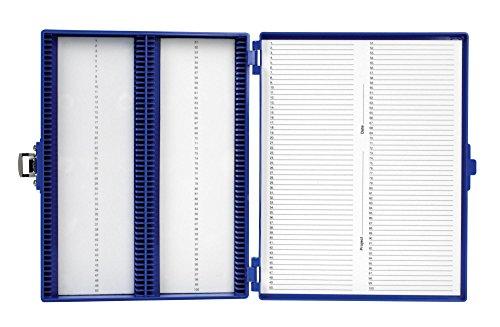 - Heathrow Scientific HS15994M 100 Place Slide Box, Blue