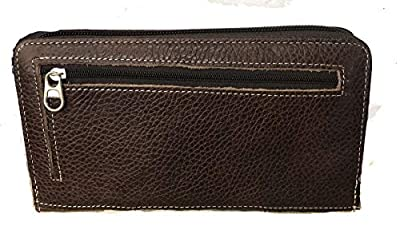 Women Leather Tooled Floral Studs Zipper Wallet