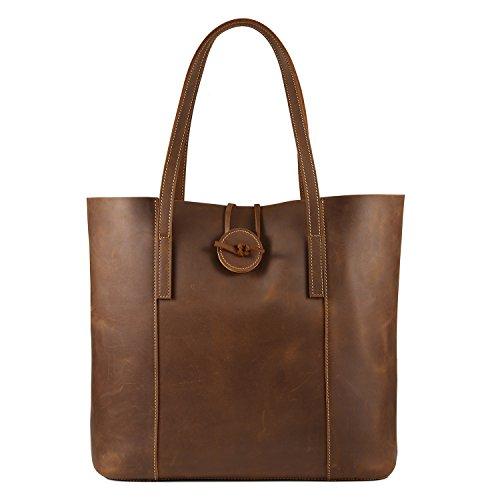Kattee Women's Vintage Cow Leather Tote Shopper Shoulder Bag Brown