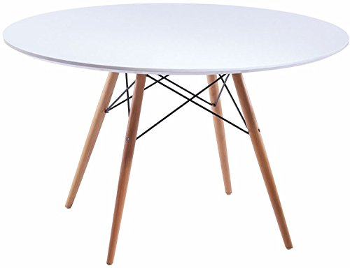 Mod Made Mid Century Modern Paris Tower Round Table Dining Table Wood Leg and top, White Natural