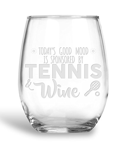 (BadBananas Today's Good Mood Is Sponsored By - Tennis and Wine - 21 oz Stemless Wine Glass with Etched Coaster - Funny Tennis Gifts)