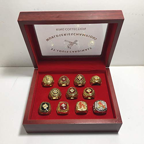 Set of 11 St. Louis Cardinals World Series Championship Replica Rings With Display Box Various Sizes Gold & Silver Color Collectible 1926 1931 1934 1942 1944 1946 1964 1967 1982 2006 2011 USA SHIPPER (1964 St Louis Cardinals World Series Ring)