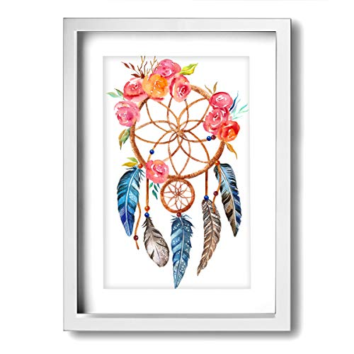 Earrings Framed Turquoise - Xinyi Online New Wall Art Painting Picture Dream Catcher Home Decor Framed Painting for Office, Bar, Living Room, Bedroom Wall Decor 9.45x13(in)