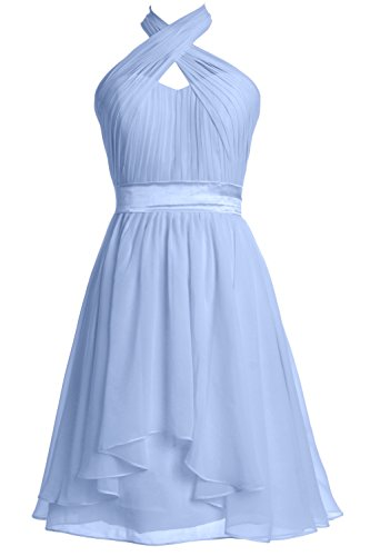 MACloth Women Halter Short Bridesmaid Dress Chiffon Cocktail Party Formal Gown Cielo azul