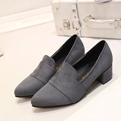 Women's Pointed Frosted Gray Spring Toe Shoes Casual Shoes Shallow erthome Autumn Suede dqnpXwp0x