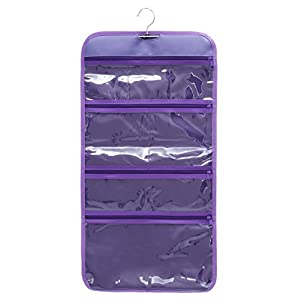 WODISON Foldable Clear Hanging Travel Toiletry Bag Cosmetic Organizer Storage Purple