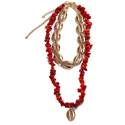 - HORHIN 2 PCS Natural Shell Choker Handmade Pendant Cord Rope Pearl Boho Tropical Hawaii Beach Necklace Adjustable Necklace Set Chips Shell Surfer Choker Necklace Jewelry Mens Womens