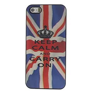 JUJEO 3D Stereoscopic Effect Hard PC Case for iPhone 5/5S - Keep Calm and Carry On Design - Non-Retail Packaging - Multi Color