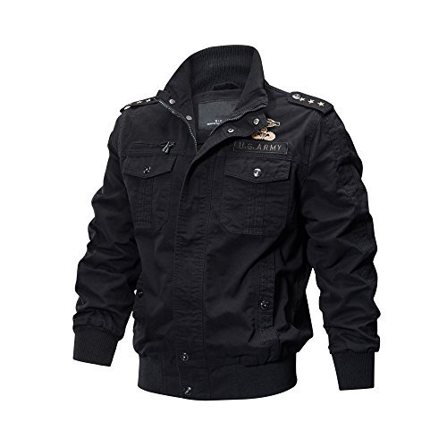 ZooYung Men's Casual Winter Cotton Military Jackets Outdoor Coat (ZY-Jacket9931-Black-L)