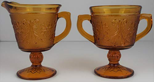 - Tiara Indiana Amber Glass Footed Sugar and Creamer Set ~ Sandwich Glass ~ Vintage