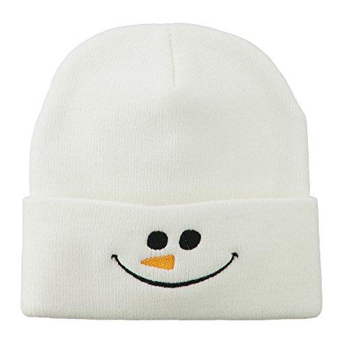 Christmas Snowman Smiley Embroidered Beanie - White OSFM
