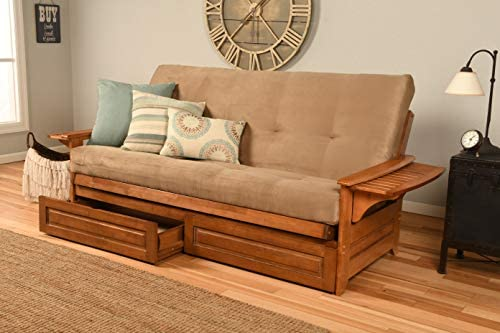 Kodiak Furniture Phoenix Futon in Barbados Finish, Full, Suede Peat