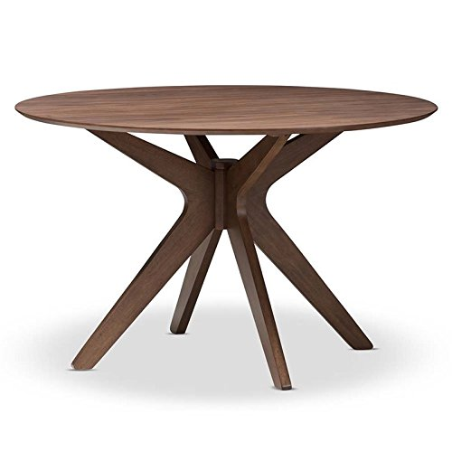 Hawthorne Collections Round Dining Table in Walnut Brown